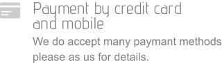Payment by credit card  and mobile We do accept many paymant methods please as us for details.